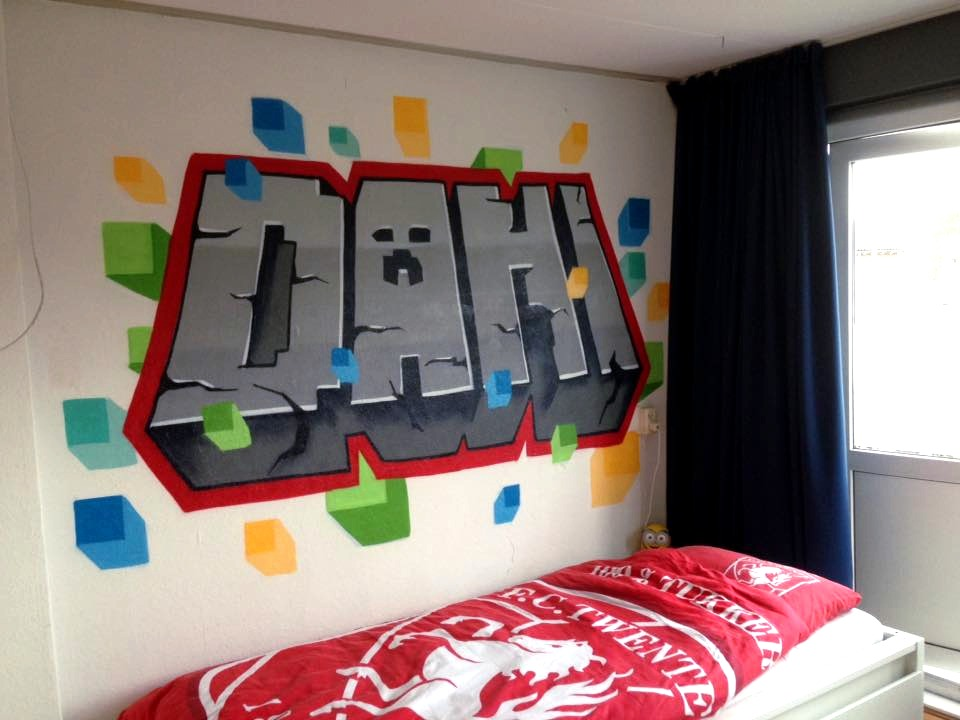 Mr. Graffiti: Minecraft graffiti slaapkamer van Dani - Mr. Graffiti